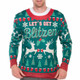 Let's Get Blitzen Ugly Christmas Sweater Faux Real - Close Up