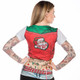 Christmas Biker Chick Ugly Christmas Long Sleeve Tee Faux Real - Back