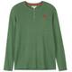 Men's Winter Green Waffle Henley Pajama Shirt Front