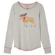 Moose on Grey Women's Stretch Jersey Pajama Top