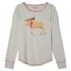 Moose on Grey Women's Stretch Jersey Pajama Top