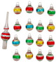 Retro Mini Glass Bulb Ornaments & Tree Topper for Table Top Trees