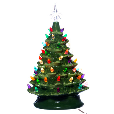 Green Vintage Light Up Ceramic Christmas Tree