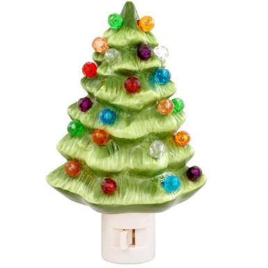 Vintage Green Ceramic Christmas Tree Nightlight