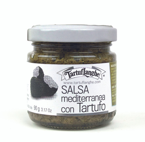 A asty tapenade made with black olives, mushrooms, Italian extra virgin olive oil, truffle, anchovies, and capers.