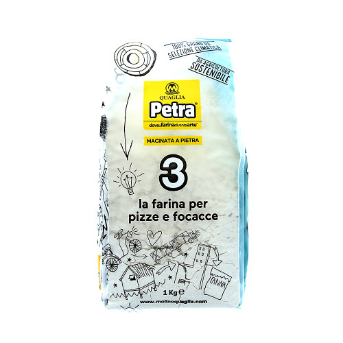 Petra 3 Stone-Milled Professional Flour From 100% Certified Italian Wheat - Pizza And Focaccia  (2.2 Lbs | 1Kg)