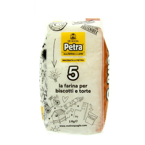 Petra 5 Stone-milled Professional Flour from 100% Certified Italian Wheat - Cakes and Cookies (2.2 Lbs | 1Kg)