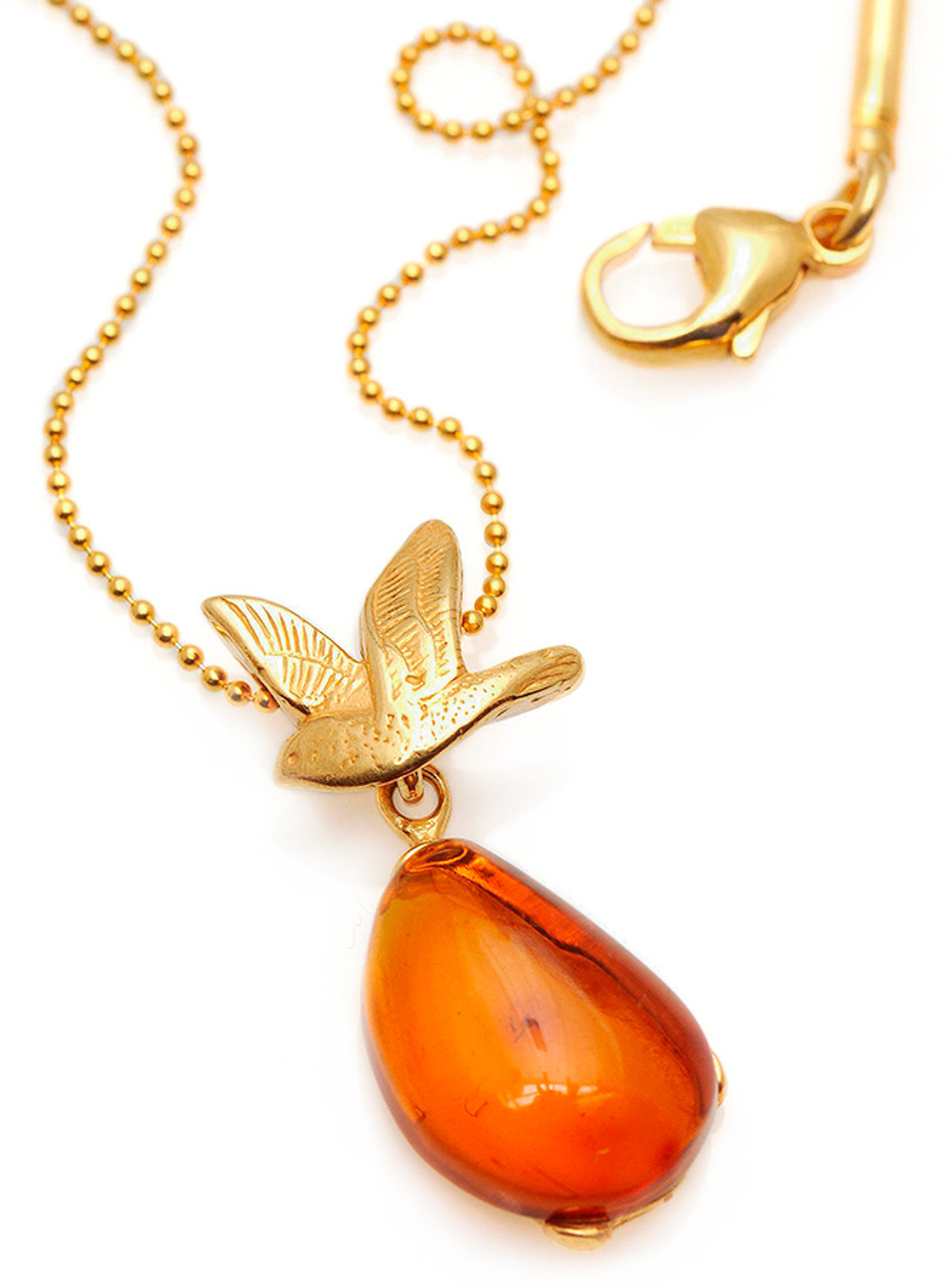a430373e5 Dainty Amber Necklace with gold plated silver dove. Silber Bernstein  Halskette.