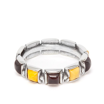 Silver and Baltic Amber Eternity Ring Cherry and milky colours