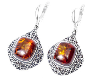 Silver and cognac amber Vintage. Unique piece of authentic, baltic amber.