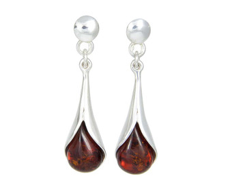Cognac Amber Earrings. Calla Lily.