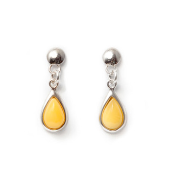 Dangle earrings - amber teardrops - Silver rhodium plated and baltic butterscotch amber . Silver dangle earrings with amber