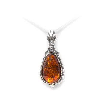 Pendant Sterling Silver Ornament and Baltic cognac Amber. Necklace silver and amber. Organic natural necklace.