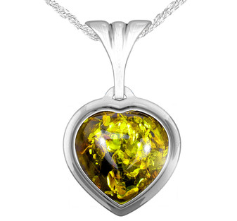 Sterling Silver Green Amber Heart Pendant. Gift for beloved one.