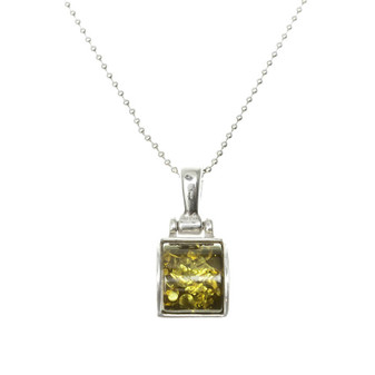 Sterling Silver Green Amber Rectangular Pendant. Unique and amazing amber, witness of the world's history. Silver amber necklace.