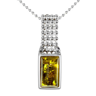 Sterling Silver Green Amber Rectangular Pendant with decorative stripe. Silver amber pendant creates modern necklace