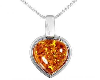 Sterling Silver Honey Amber Heart Pendant. Baltic Amber in honey colour is a wonderful choice for those who adores natural look.