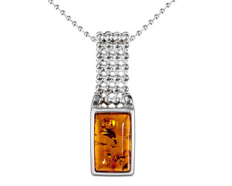 Sterling Silver Honey Amber Rectangular Pendant with decorative stripe. Unique amber gift. Keepsake from Poland