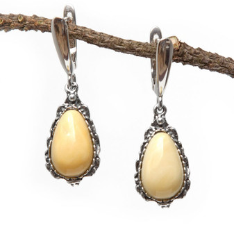 Sterling Silver Ornament and Baltic Milky Amber Earrings - partner for any occasion.