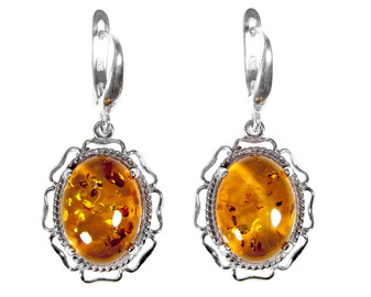 Sterling Silver Floral Frame Baltic Cognac Amber Earrings Warm and sunny colour of Baltic Amber