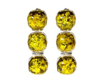 Green amber earrings.