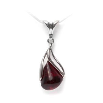 Cherry Amber Silver Tulip Pendant