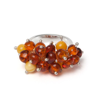 Silver and Grape Bunch Baltic Amber Ring Cognac and milky colours