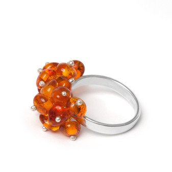 Silver and Grape Bunch Baltic Amber Ring Cognac colour