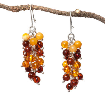 Silver and Grape Bunch Baltic Amber Earrings Cognac and milky amber