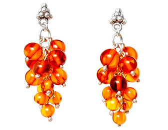 Silver and Cognac Grape Bunch Baltic Amber Earrings Dangle earrings, close to the nature.