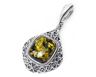 Silver and Green Amber Royal Vintage Pendant