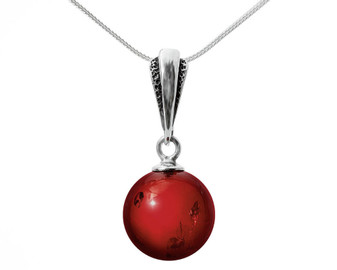 """Cherry Fruit"" Silver and Baltic Cherry Amber Pendant. Cherry amber bead pendant necklace"