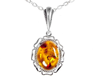Sterling Silver Floral Frame & Baltic Cognac Amber Pendant