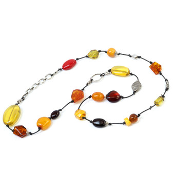 Baltic Amber Necklace. Multicolor Amber and Silver with Leather Necklace. Baltic amber jewelry for adults and teens.