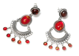 Silver and Cherry Baltic Amber Bollywood Earrings chandelier bollywood earrings, boho style, oriental earrings, jewels, bijou