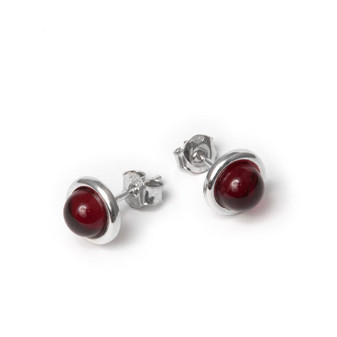 Cherry amber and rhodium plated sterling silver round stud earrings