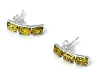 Green Baltic Amber and Sterling Silver Triple Rectangular Earrings