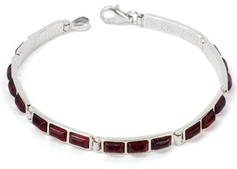 Silver and Cherry Baltic Amber Square link bracelet. vitality bracelet genuine amber