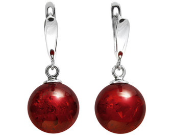 """Cherry Amber Beads Sterling Silver """"CherryFruit"""" Dangle Earrings Natural Jewellery, lovely bijou Mother Nature's Accessories"""