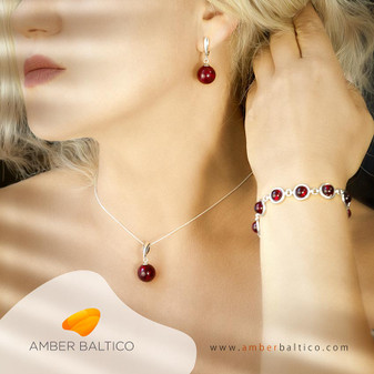 Amber jewelry set. Cherry, red amber balls. Baltic amber. Sterling silver. Earrings + bracelet + pendant.  Silver Snake Chain on the picture.