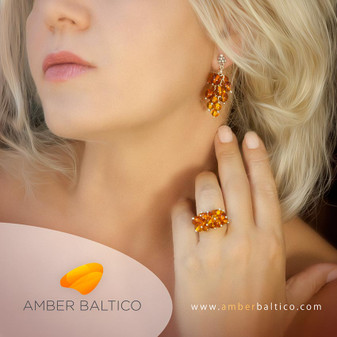 Amber jewelry set. Cognac, orange amber bunch of grape. Baltic amber. Sterling silver. Earrings + ring.