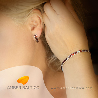 Cherry amber and silver bracelet with cherry amber and silver earrings.