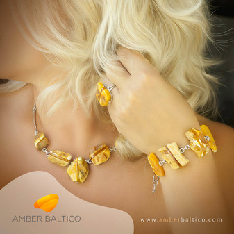 Baltic amber jewelry set. Original unique and sophisticated collection. Stone age look.