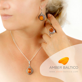 Baltic amber jewelry set. Queen Victoria style. Cognac amber and sterling silver. Beautiful silver frame design. Elegant and sophisticated. Silver Cable Chain on the picture.