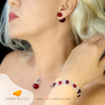 Cherry amber jewelry set. Double amber ball earrings with amber ball pendant and half ball beautiful bracelet