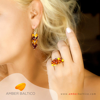 Amber jewelry set. Grape bunch. Small amber balls. Multicolor amber earrings and ring.