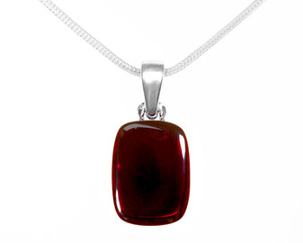 Modern necklace made of rhodium plated silver and Baltic Cherry Amber.