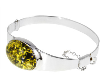 Silver Green Oval Amber Bangle Bracelet. Luxury piece of jewelry