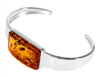 Silver Cognac Amber Cuff Bangle Handcrafted item