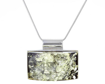 Green Baltic Amber Necklace. Contemporary Rectangle Pendant